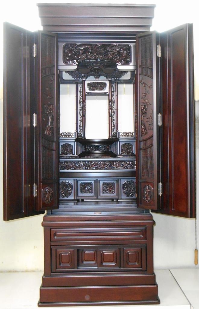 円窓花障子が映える桐の引出し付の紫檀のお仏壇